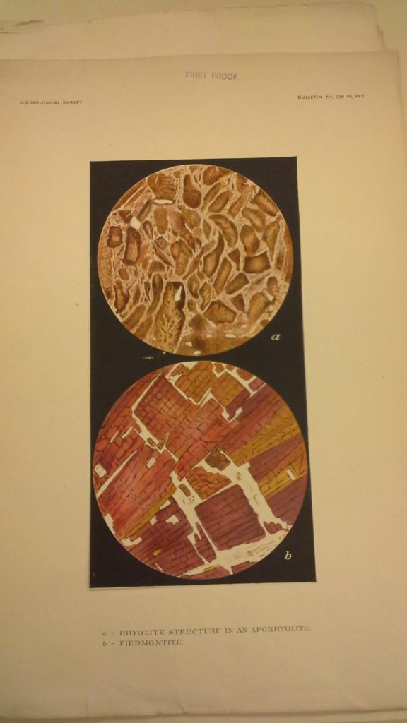 "Illustrations of microscope slides of ""rhyolite structure in an aporhyolite"" and ""piedmontite."""